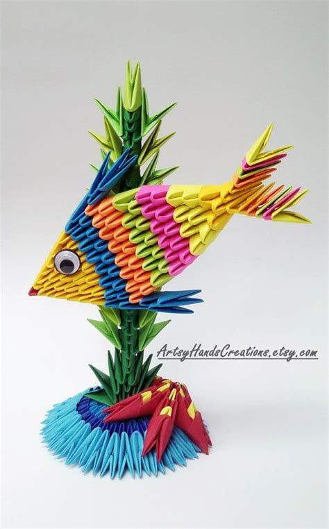 How To Make A 3d Origami Fish - 3d origami fish paper fish 3d fish origami fish 3d