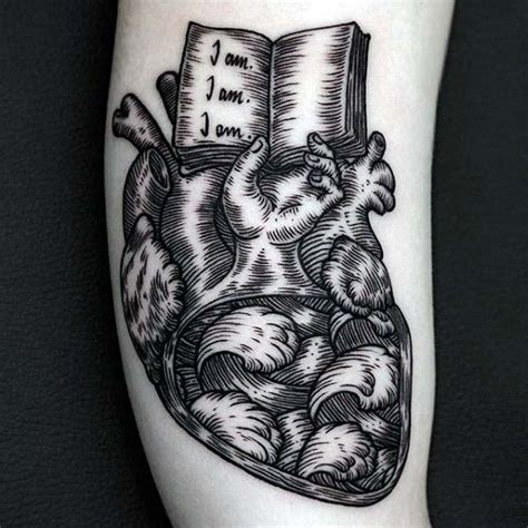 tattooed heart book 80 woodcut tattoo designs for men engraved ink ideas