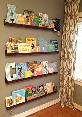 floating shelves in a baby nursery take the place of a