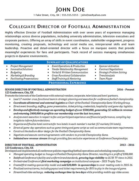 Athletic Director Resume by Athletic Director Resume Exle Football Sports