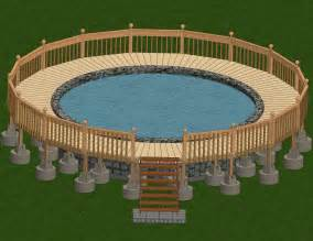 pool deck bauen blueprints 24 foot above ground pool deck plans
