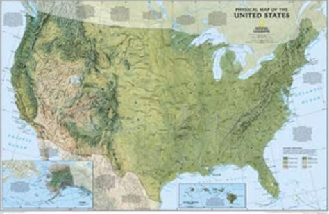 map usa geographical national geographic usa physical wall map maps