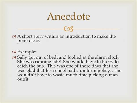 Exle Of Anecdote Essay by Anecdotes In Essays