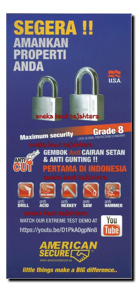 Gembok American Secure Anti Cairan Setan 50mm Leher Panjang Generasi jual gembok 50mm american secure anti cut aneka baut sejahtera