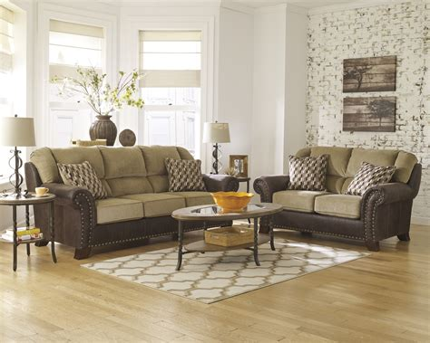 nailhead trim sofa set traditional two tone beige brown sofa set w rolled arms