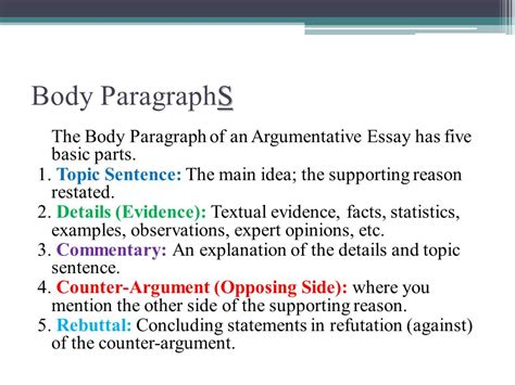 essay structure body paragraph the argumentative essay ppt video online download