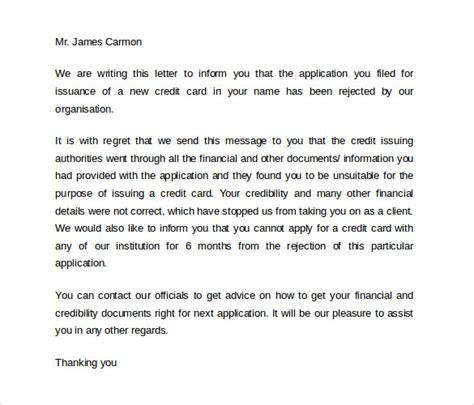 Rejection Credit Letter Letter Of Credit 9 Free Sles Exles Formats