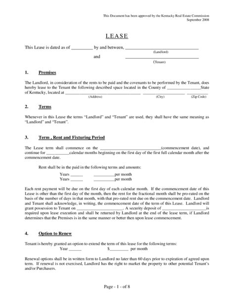 Application Form Rental Agreement Form Ky Lease Template Pdf