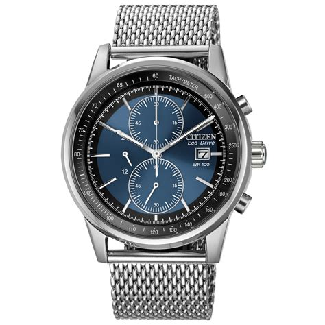 Citizen Eco Drive Cronograph citizen s chronograph eco drive stainless steel mesh bracelet 42mm ca0331 56l in