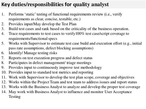 Analyst Duties by Quality Analyst Description