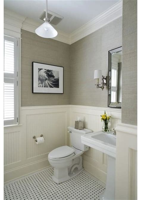 Bathroom Wallpaper Colors Beadboard And Chandelier And Sconces Home Decor