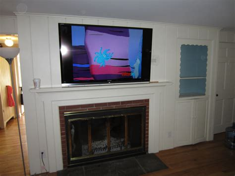 Tv Above Fireplace Mantel by Fireplace Fireplace Mantel Ideas With Mounting Tv Above