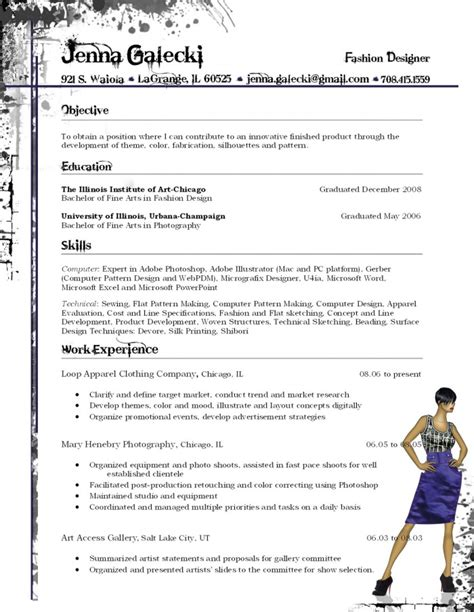 Fashion Designer Resume galecki fashion designer resume