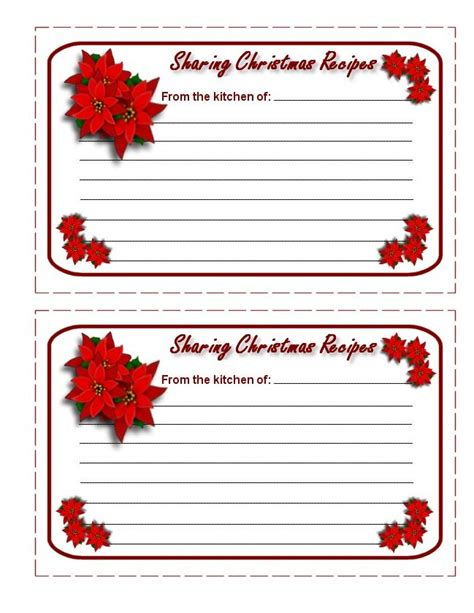 printable christmas recipe cards printable christmas card templates new calendar template