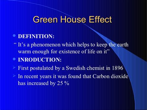 affects meaning green house effect