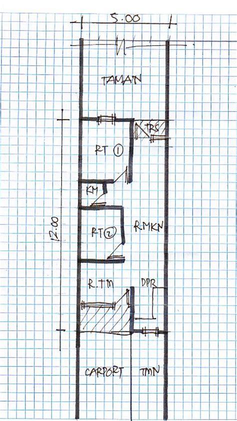 denah rumah tinggal lebar 5 meter gambar rumah idaman
