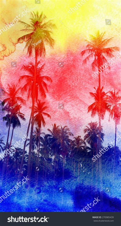 colorful palm trees colorful retro colorful watercolor silhouettes of palm