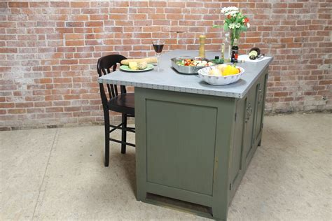 zinc kitchen island in pewter green reclaimed wood furniture