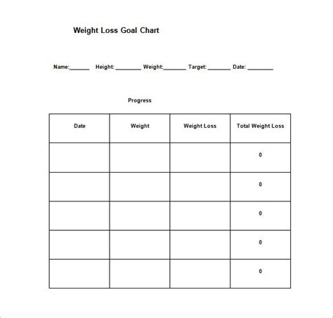 weight loss goals template goal chart template 9 free sle exle format