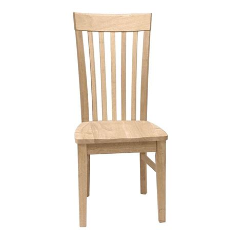 Wood Dining Chairs Unfinished International Concepts Unfinished Wood Mission Dining Chair Set Of 2 C 465p The Home Depot