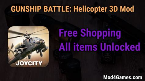 game mod free shopping gunship battle helicopter 3d free shopping game mod apk