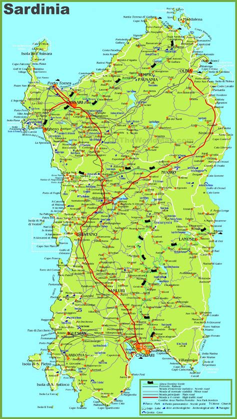 sardinia map large detailed map of sardinia with cities towns and roads