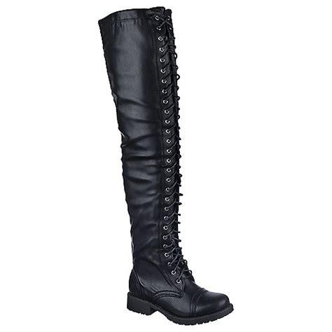 buy shiekh womens pk thigh low heel combat thigh high