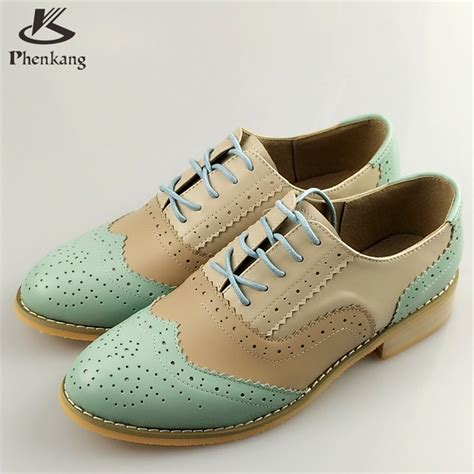 womens flat oxford shoes genuine leather flat shoes sping vintage