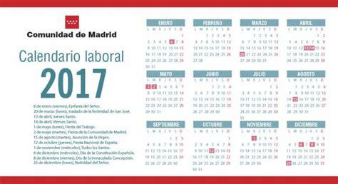 Calendario De Puentes 2017 Calendario Laboral Madrid 2017 Festivos Y Puentes