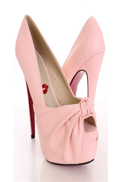 light pink pump heels light pink knotted keyhole toe pump heels