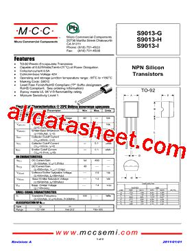 transistor s9013 s9013 h datasheet pdf micro commercial components