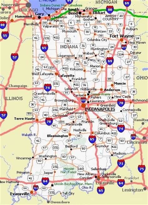 indiana road map indiana road map indiana mappery