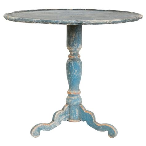 Blue Side Table Klimt Country Swedish Blue Wood Pedestal Side Table Kathy Kuo Home