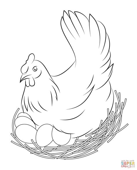 big chicken coloring page hen sits on eggs coloring page free printable coloring