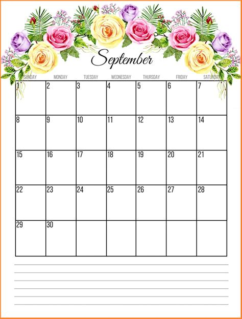 september 2019 calendar printable floral 2019 monthly calendar calendar 2019