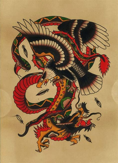 traditional snake eagle amp dragon tattoo flash print