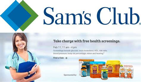 Coupon Calendar Club Sams Club Coupons Free Health Screenings Saturday At
