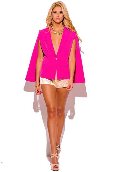 Cape Blazer Pink shop pink button cape jacket suiting blazer top