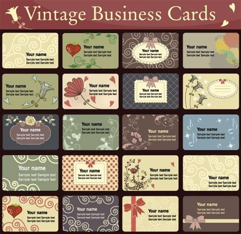 Vintage Business Cards Templates Free simple and business card template pattern vector