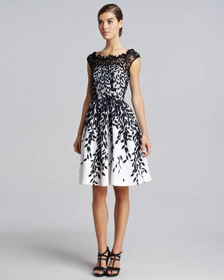Leaf Dress White blumarine leaf overlay dress black white