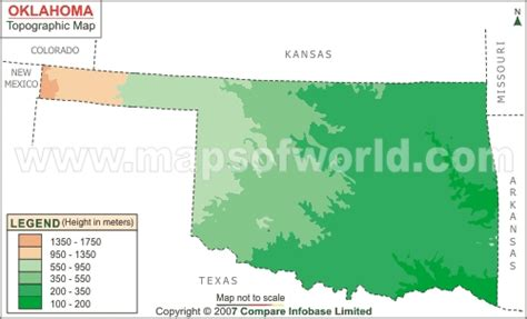 topographical map of oklahoma oklahoma topographic map