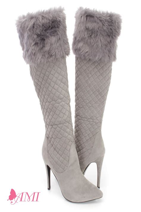 faux fur high heel boots grey faux fur cuffed single sole high heel boots faux suede
