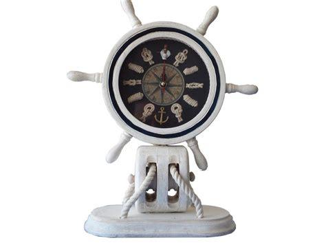 Nautical Desk Clocks by Buy Wooden Whitewashed Ship Wheel Mantel Knot Clock 13
