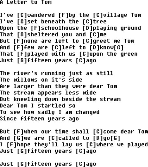 Letter Chords Bluegrass Songs With Chords A Letter To Tom