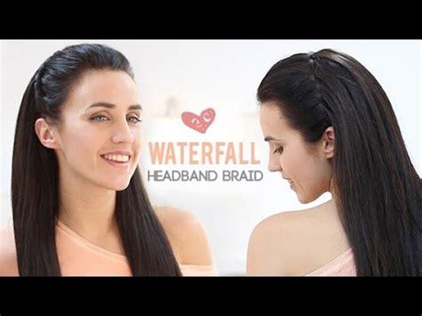 waterfall braid headband step by step waterfall headband braid step by step youtube