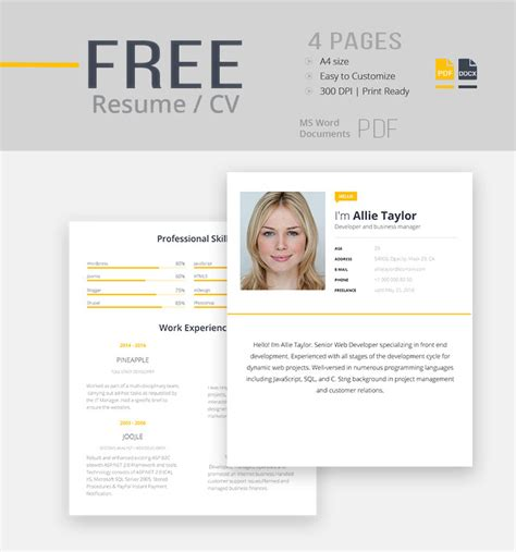 Cv Templates Free Word Document by 30 Best Free Resume Templates In Psd Ai Word Docx