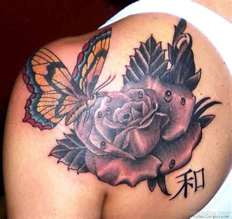 roses with butterflies tattoos butterfly tattoos designs pictures page 15