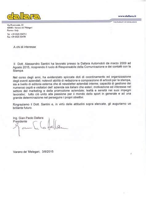 lettere di raccomandazione lettera di referenza di gian paolo dallara