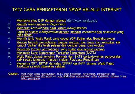 buat npwp via on line cara pendaftaran npwp online melalui e registration
