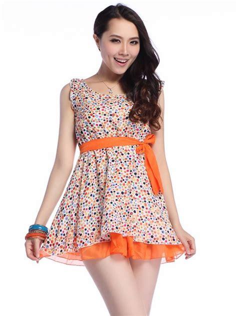 Dress Pinguin Polka Dress Korea korean style fashion polka dots belted chiffon tank dress sale